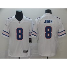 New York Giants #8 Daniel Jones White Team Logos Fashion Vapor Limited Nike NFL Men Jersey