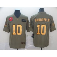 San Francisco 49ers #10 Jimmy Garoppolo 2019 Olive Gold Salute To Service Limited Nike NFL Men Jersey