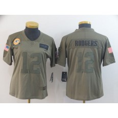 Women Nike Green Bay Packers #12 Aaron Rodgers 2019 Olive Salute To Service Limited Jersey