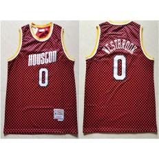 Houston Rockets #0 Russell Westbrook Red Checkerboard Hardwood Classics Jersey