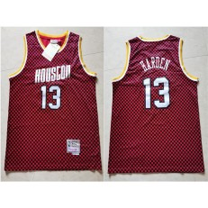 Houston Rockets #13 James Harden Red Checkerboard Hardwood Classics Jersey