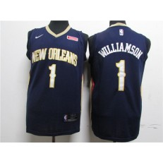 New Orleans Pelicans #1 Zion Williamson Navy Earned Edition Nike Swingman Jersey