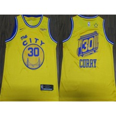 Washington Warriors #30 Stephen Curry Bright Yellow City Edition Nike Swingman Jersey
