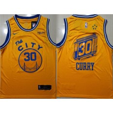 Washington Warriors #30 Stephen Curry Yellow City Edition Nike Swingman Jersey