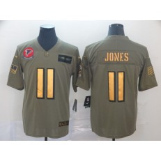Atlanta Falcons #11 Julio Jones 2019 Olive Gold Salute To Service Limited Nike NFL Men Jersey