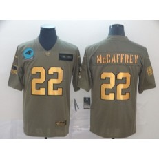 Carolina Panthers #22 Christian McCaffrey 2019 Olive Gold Salute To Service Limited Nike NFL Men Jersey