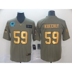 Carolina Panthers #59 Luke Kuechly 2019 Olive Gold Salute To Service Limited Nike NFL Men Jersey
