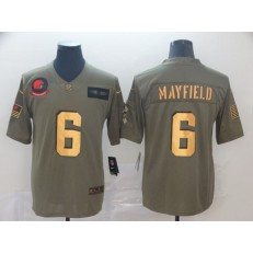 Cleveland Browns #6 Baker Mayfield 2019 Olive Gold Salute To Service Limited Nike NFL Men Jersey