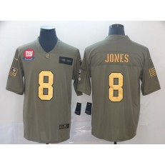 New York Giants #8 Daniel Jones 2019 Olive Gold Salute To Service Limited Nike NFL Men Jersey