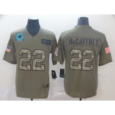 Carolina Panthers #22 Christian McCaffrey 2019 Olive Camo Salute To Service Limited Nike NFL Men Jersey