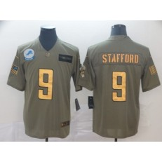 Detroit Lions #9 Matthew Stafford 2019 Olive Gold Salute To Service Limited Nike NFL Men Jersey