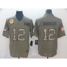 Green Bay Packers #12 Aaron Rodgers 2019 Olive Camo Salute To Service Limited Nike NFL Men Jersey