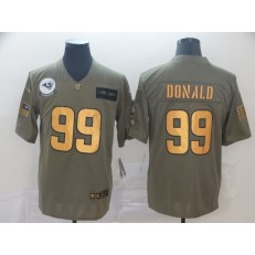 Los Angeles Rams #99 Aaron Donald 2019 Olive Gold Salute To Service Limited Nike NFL Men Jersey