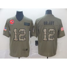 New England Patriots #12 Tom Brady 2019 Olive Camo Salute To Service Limited Nike NFL Men Jersey