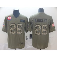 New York Giants #26 Saquon Barkley 2019 Olive Camo Salute To Service Limited Nike NFL Men Jersey