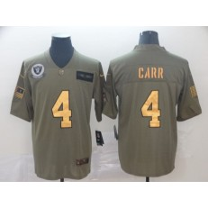 Oakland Raiders #4 Derek Carr 2019 Olive Gold Salute To Service Limited Nike NFL Men Jersey