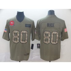 San Francisco 49ers #80 Jerry Rice 2019 Olive Camo Salute To Service Limited Nike NFL Men Jersey