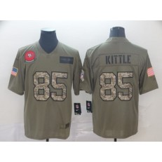 San Francisco 49ers #85 George Kittle 2019 Olive Camo Salute To Service Limited Nike NFL Men Jersey