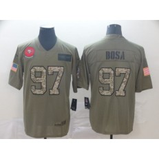 San Francisco 49ers #97 Nick Bosa 2019 Olive Camo Salute To Service Limited Nike NFL Men Jersey