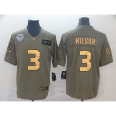 Seattle Seahawks #3 Russell Wilson 2019 Olive Gold Salute To Service Limited Nike NFL Men Jersey