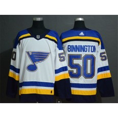 St.Louis Blues #50 Jordan Binnington White Adidas Jersey