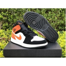 AIR JORDAN 1 MID BLACK WHITE STARFISH ORANGE 554724-058