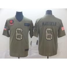 Cleveland Browns #6 Baker Mayfield 2019 Olive Camo Salute To Service Limited Nike NFL Men Jersey