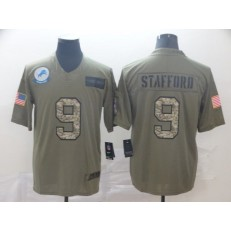 Detroit Lions #9 Matthew Stafford 2019 Olive Camo Salute To Service Limited Nike NFL Men Jersey