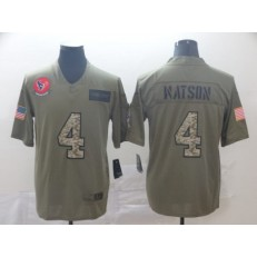 Houston Texans #4 Deshaun Watson 2019 Olive Camo Salute To Service Limited Nike NFL Men Jersey