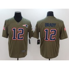 New England Patriots #12 Tom Brady Olive Salute To Service Limited Nike NFL Men Jersey