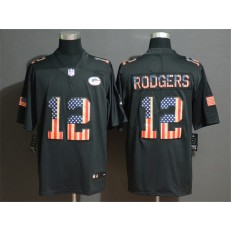 Green Bay Packers #12 Aaron Rodgers 2019 Black Salute To Service USA Flag Fashion Limited Nike NFL Men Jersey
