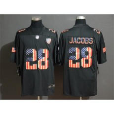 Oakland Raiders #28 Josh Jacobs 2019 Black Salute To Service USA Flag Fashion Limited Nike NFL Men Jersey