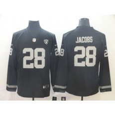 Oakland Raiders #28 Josh Jacobs Black Therma Long Sleeve Nike NFL Men Jersey