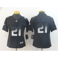 Women Nike Dallas Cowboys #21 Ezekiel Elliott Black Arch Smoke Vapor Untouchable Limited Jersey
