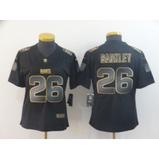 Women Nike New York Giants #26 Saquon Barkley Black Gold Vapor Untouchable Limited Jersey