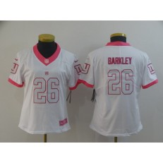Women Nike New York Giants #26 Saquon Barkley White Pink Rush Fashion Limited Jersey