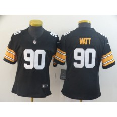 Women Nike Pittsburgh Steelers #90 T.J. Watt Black Alternate Vapor Untouchable Limited Jersey