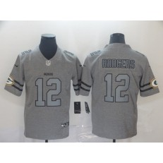 Green Bay Packers #12 Aaron Rodgers 2019 Gray Gridiron Gray Vapor Untouchable Limited Nike NFL Men Jersey