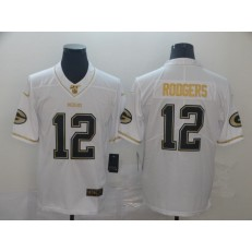 Green Bay Packers #12 Aaron Rodgers White Gold Vapor Untouchable Limited Nike NFL Men Jersey