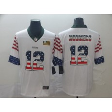 Green Bay Packers #12 Aaron Rodgers White USA Flag Fashion Limited Nike NFL Men Jersey