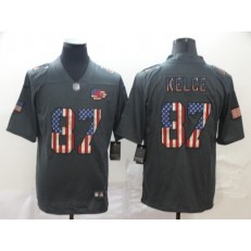 Kansas City Chiefs #87 Travis Kelce 2019 Salute To Service USA Flag Fashion Limited Nike NFL Men Jersey