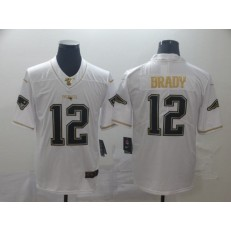 New England Patriots #12 Tom Brady White Gold Vapor Untouchable Limited Nike NFL Men Jersey