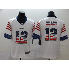 New England Patriots #12 Tom Brady White USA Flag Fashion Limited Nike NFL Men Jersey