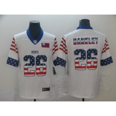 New York Giants #26 Saquon Barkley White USA Flag Fashion Limited Nike NFL Men Jersey