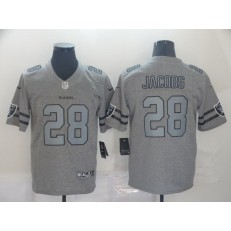 Oakland Raiders #28 Josh Jacobs 2019 Gray Gridiron Gray Vapor Untouchable Limited Nike NFL Men Jersey