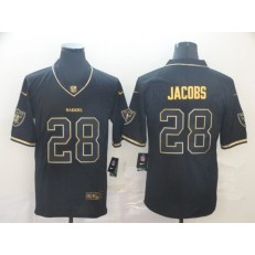 Oakland Raiders #28 Josh Jacobs Black Gold Throwback Vapor Untouchable Limited Nike NFL Men Jersey