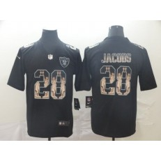 Oakland Raiders #28 Josh Jacobs Black Statue Of Liberty Limited Nike NFL Men Jersey