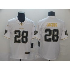 Oakland Raiders #28 Josh Jacobs White Gold Vapor Untouchable Limited Nike NFL Men Jersey