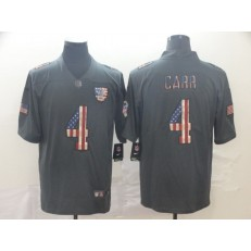 Oakland Raiders #4 Derek Carr 2019 Salute To Service USA Flag Fashion Limited Nike NFL Men Jersey