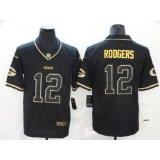 Green Bay Packers #12 Aaron Rodgers Black Gold Throwback Vapor Untouchable Limited Nike NFL Men Jersey